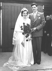 Sid and Eunice Bewsey at their wedding - 12 May 1952.