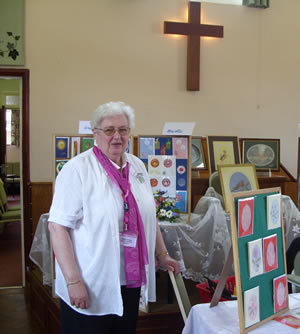 Sheila Griggs with some of her work.