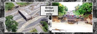 Pictures of bridges washed away.