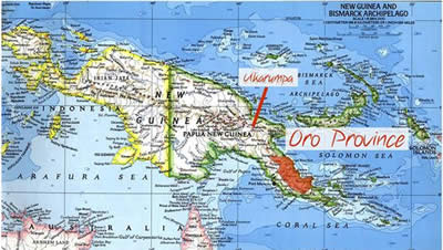 Map of PNG showing Oro Province.